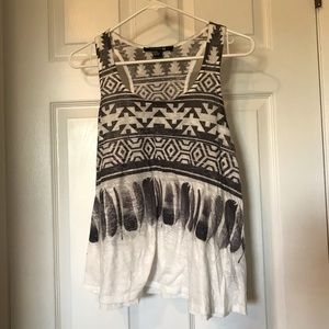 Forever 21 grey and white tribal feather tank top